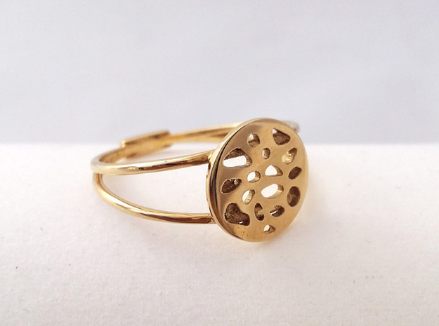 RING MAGNETIC LOBULAR in Polished Brass