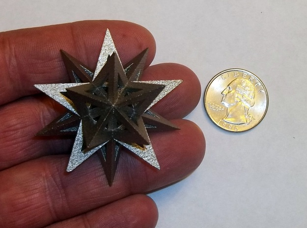 Stellated Icosahedron in Polished Bronzed Silver Steel