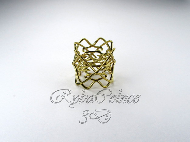 Ring The pattern/ size 6US (16.5mm) in 14k Gold Plated Brass