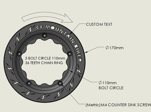 Custom Bicycle Chain Ring Guard 36 tooth in Black Strong & Flexible