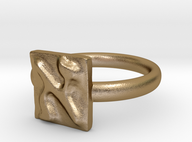 01 Alef Ring in Polished Gold Steel: 7 / 54