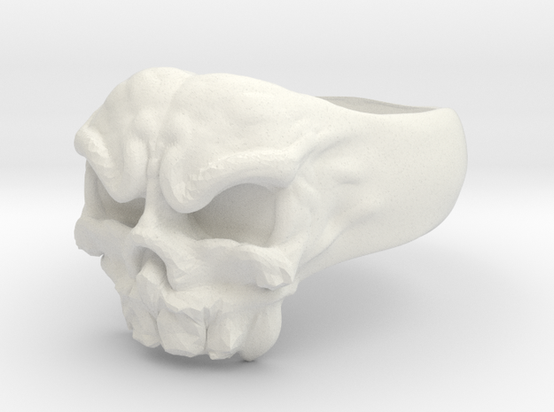 Skull Ring 1 Part Aprox 21mm in White Natural Versatile Plastic