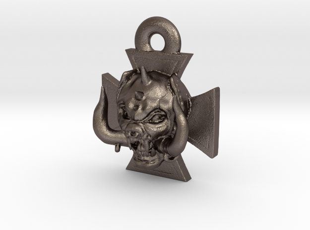 Motorhead Warpig Keychain in Polished Bronzed Silver Steel