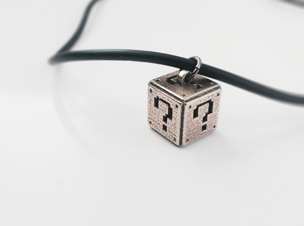 Super Mario Question Box Pendant in Stainless Steel
