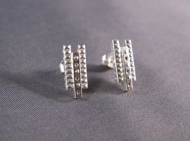 Industrial Earrings in Polished Silver