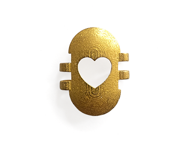 KPS Outer Piece - Heart in Polished Gold Steel