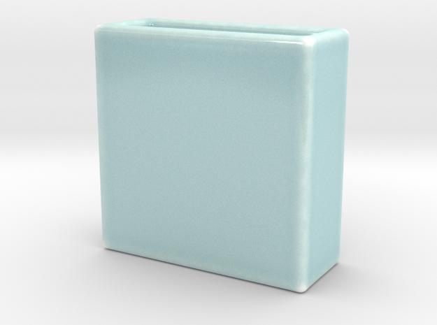 Celadon Selfie Square Vase 4x4 in Gloss Celadon Green Porcelain