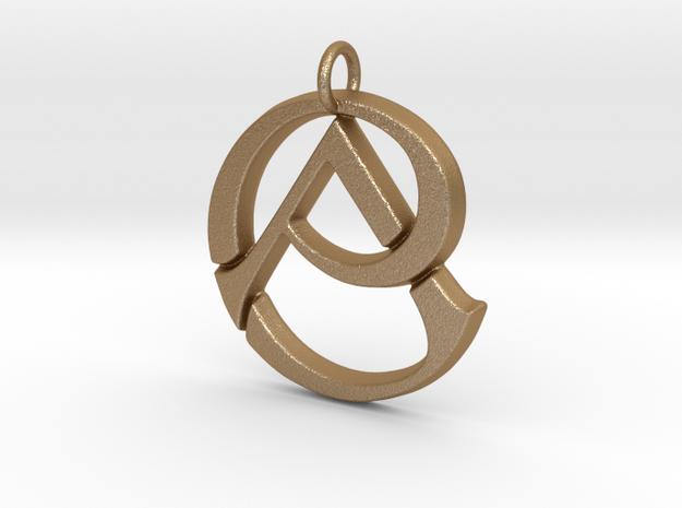 Monogram Initials CA Pendant  in Matte Gold Steel