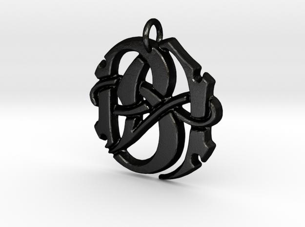 Monogram Initials BA Pendant  in Matte Black Steel