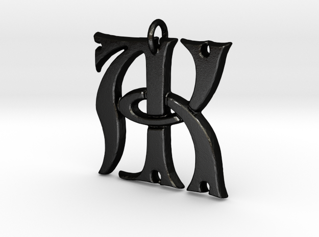 Monogram Initials AK Pendant  in Matte Black Steel