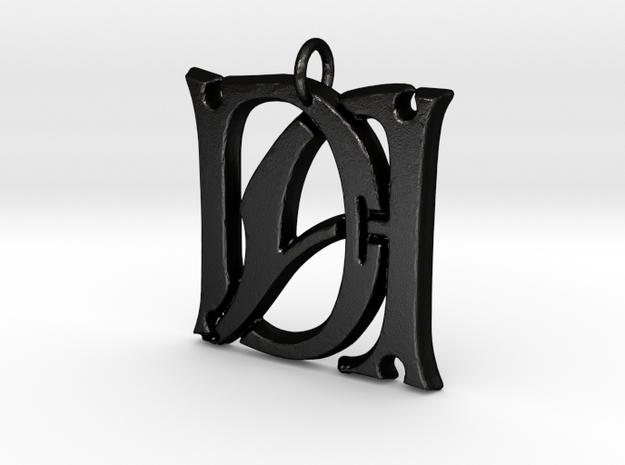 Monogram Initials DA Pendant  in Matte Black Steel