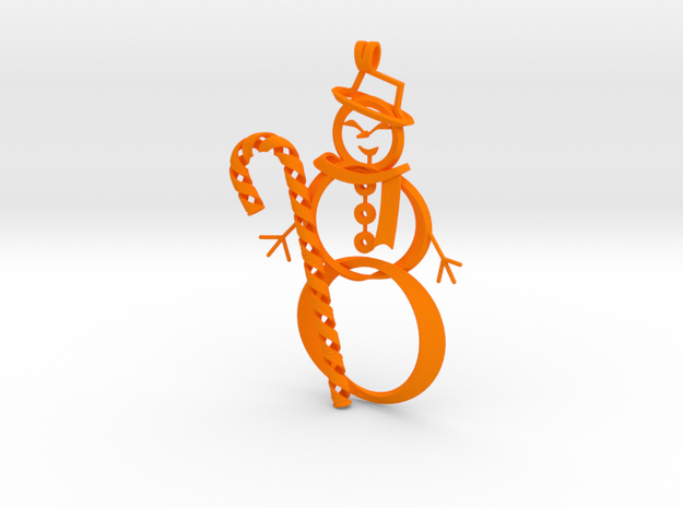 Candy Cane + Snowman ornament in Orange Processed Versatile Plastic
