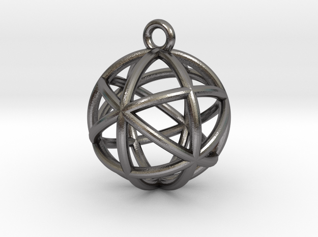"Planetary Merkaba Sphere Pendant 1"" in Polished Nickel Steel"
