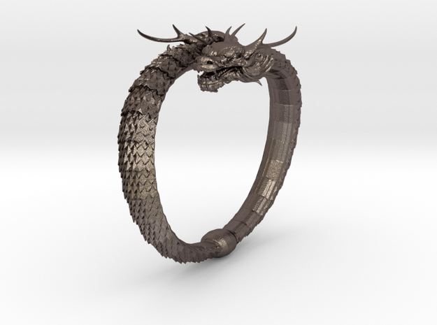 Dragon Bracelet in Polished Bronzed Silver Steel