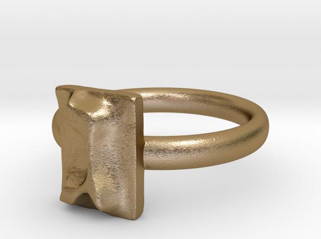 03 Gimel Ring in Polished Gold Steel: 7 / 54