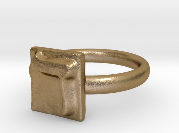 04 Dalet Ring in Polished Gold Steel: 7 / 54