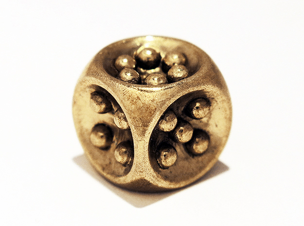 Gravity D6 in Polished Brass
