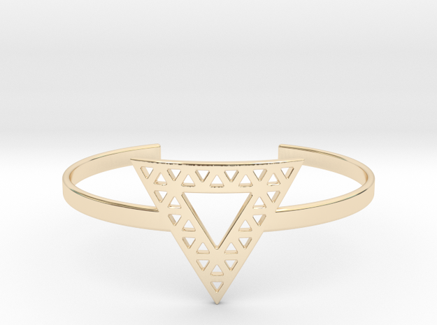 Vértice Open Triangle Cuff in 14k Gold Plated Brass