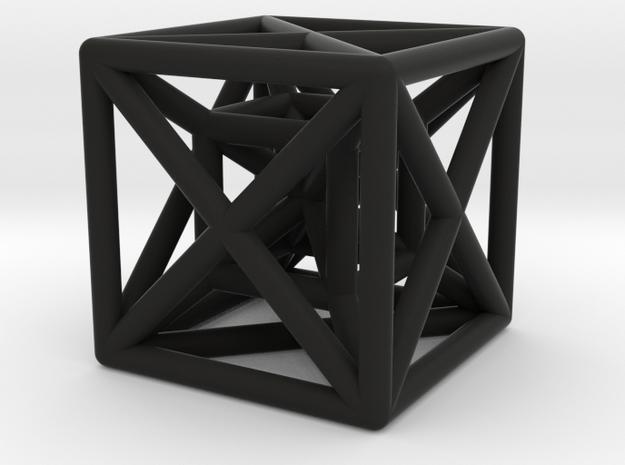 Hypercube Pendant in Black Natural Versatile Plastic