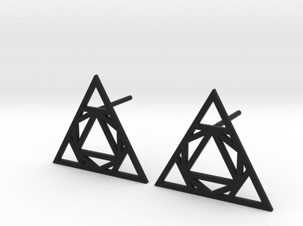 Triangle Stud Earrings in Black Natural Versatile Plastic