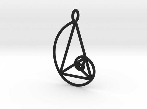 Golden Phi Spiral Isosceles Triangle Grid Pendant