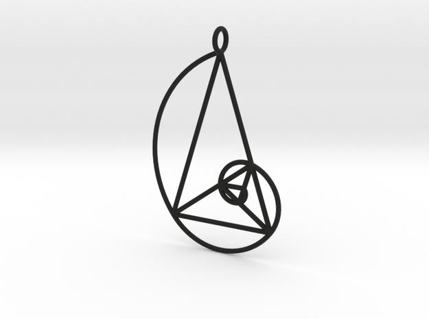 Golden Phi Spiral Isosceles Triangle Grid Pendant in Black Natural Versatile Plastic: Large