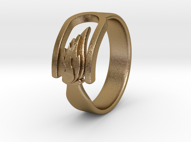 Ring of Fire (Elements of Nature) in Polished Gold Steel: 6 / 51.5
