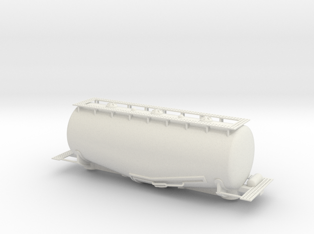 Whale Belly tank car - HOscale in White Natural Versatile Plastic