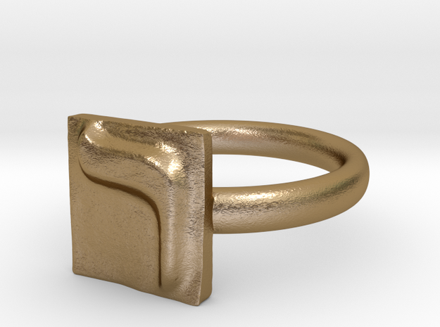 20 Resh Ring in Polished Gold Steel: 7 / 54