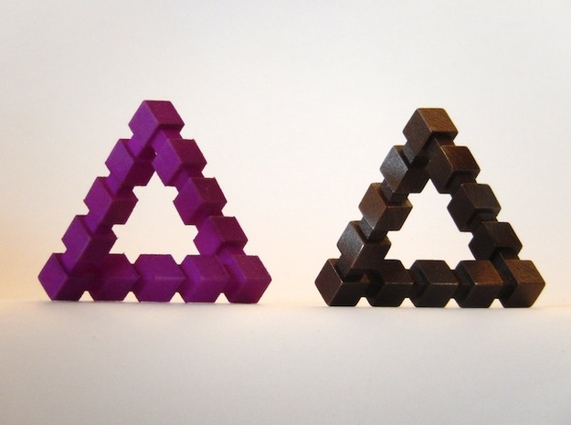 Impossible Triangle, Cubed 3d printed Violet Purple Strong & Flexible, Antique Bronze Matte