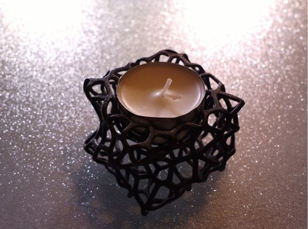 CandleHolder-twist in Matte Black Steel