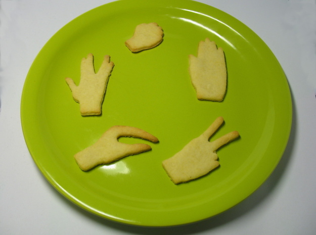 Rock-paper-scissors cookie cutters ext. version 3d printed
