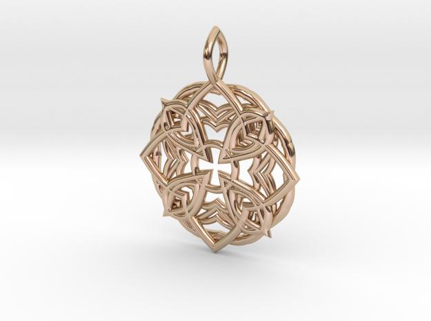 Mandala Pendant 3 in 14k Rose Gold Plated Brass