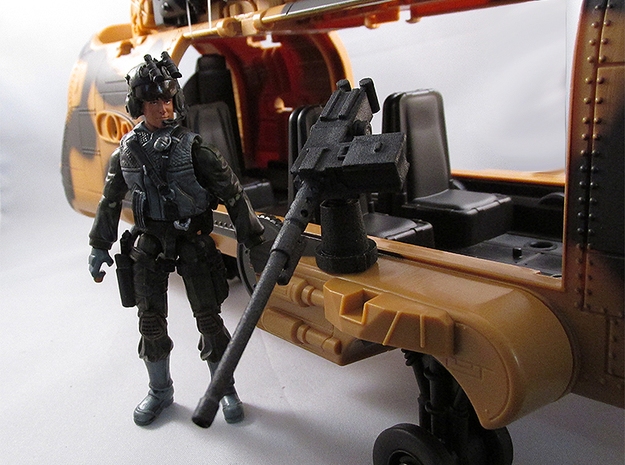 Action figure compatible 1/18 Scale 50 Cal machine in White Natural Versatile Plastic