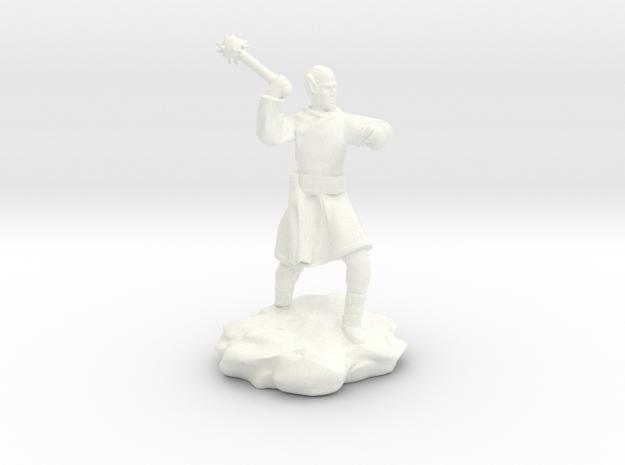 High Elf (Eladrin) Monk With Mace in White Processed Versatile Plastic