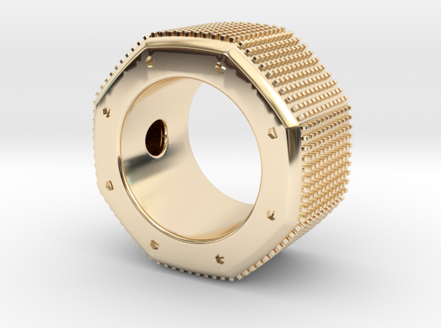 octagon ring with squares Ø16,5mm in 14k Gold Plated Brass