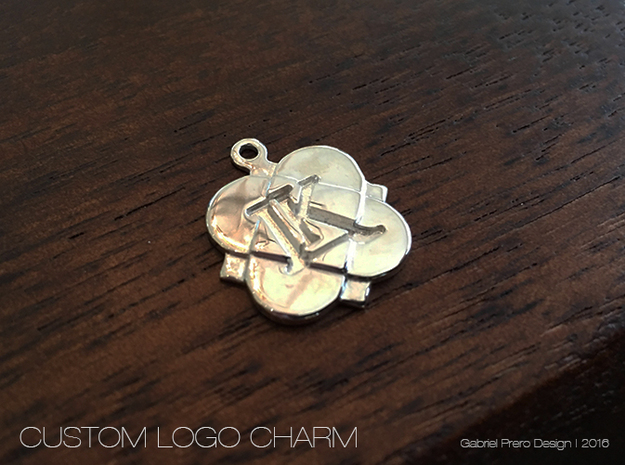 Custom Logo Charm in Polished Silver