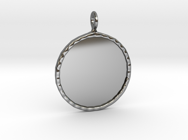 Mirror Charm in Fine Detail Polished Silver