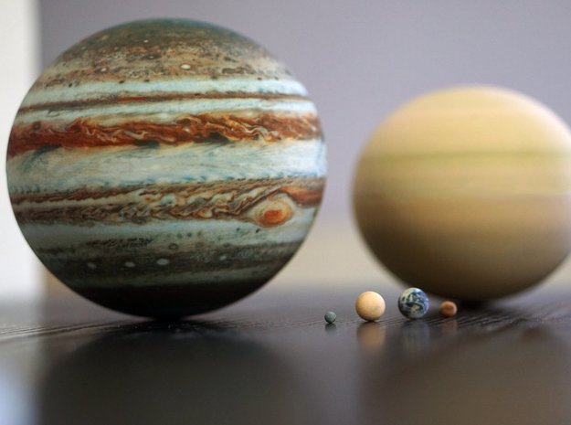 The 8 planets to scale, 1:1.5 billion in Full Color Sandstone