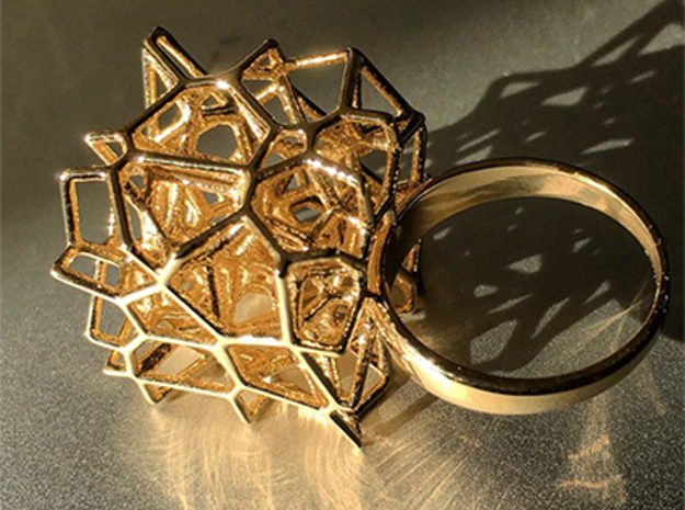 Voronoi Cube Ring (Size 8) in Polished Brass