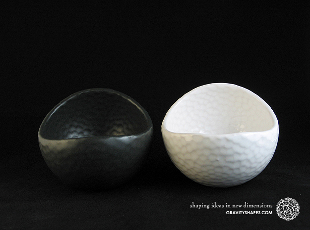 Porcelain Plant-pot in Golfball-Look (large round)