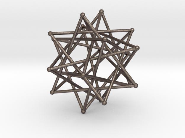 Five Tetrahedra in Polished Bronzed Silver Steel