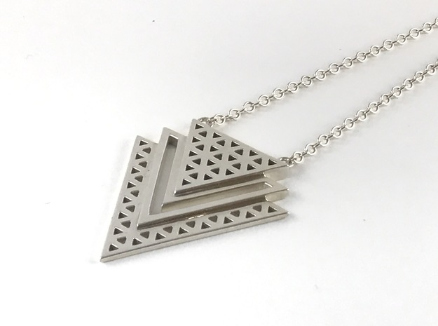 Vértice Tiered Pendant in Polished Silver: Large