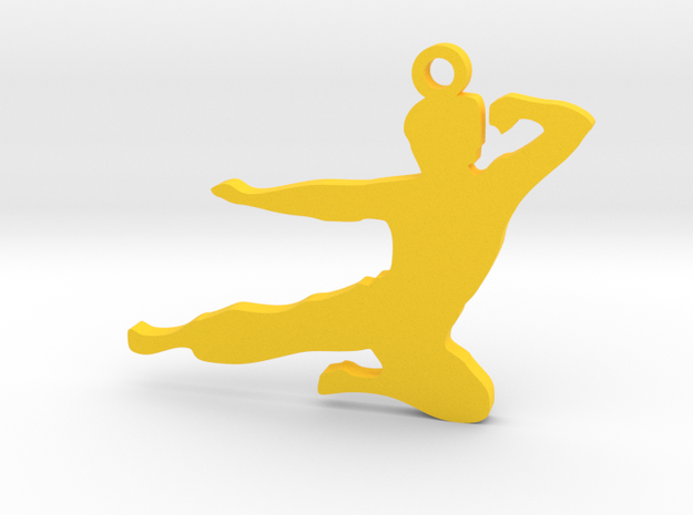 Bruce Lee Keychain in Yellow Processed Versatile Plastic