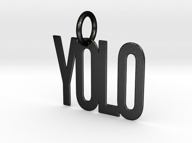 YOLO Keychain in Matte Black Steel