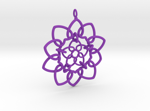 Heart Petals Links - 6.4cm - wLoopet in Purple Strong & Flexible Polished