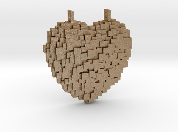 Pixelated Heart in Matte Gold Steel
