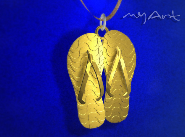 Rio Sandals 3d printed Polished Brass