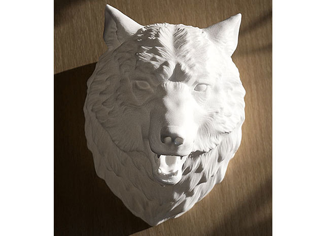 Angry Wolf Wall Mount in White Natural Versatile Plastic
