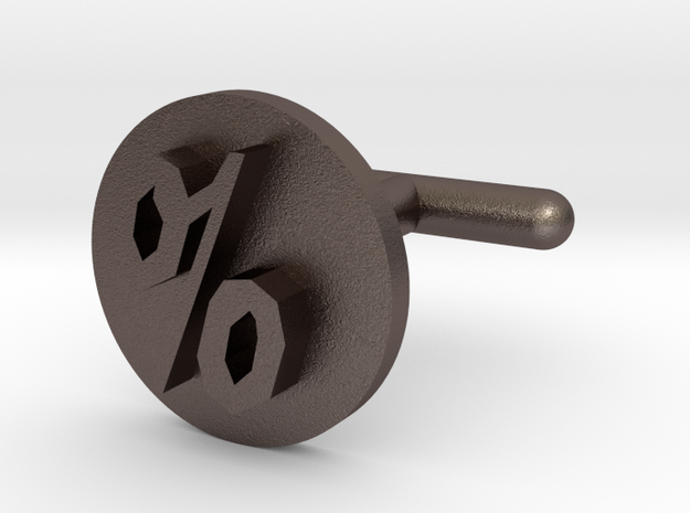 Percentage Symbol Cufflink  in Polished Bronzed Silver Steel